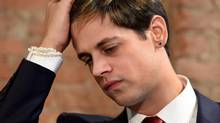 Milo Yiannopoulos holds a press conference in New York on February 21, 2017. (TIMOTHY A. CLARY/AFP/Getty Images)