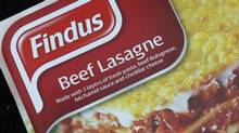A 320g size box of Findus brand beef lasagne is seen after its purchase from an independent food store in Nunhead, southeast London February 8, 2013. Food manufacturer Findus confirmed on February 7 that results of tests carried out by Britain's Food Standards Agency that showed that the company's beef lasagne contained horse meat. (CHRIS HELGREN/REUTERS)