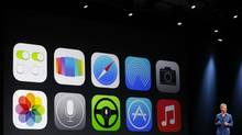 New Apple iOS 7 features are displayed on screen during the company's Worldwide Developers Conference in San Francisco, Calif., June 10, 2013. (STEPHEN LAM/REUTERS)