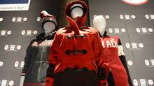 The uniforms for the Canadian Olympic team for the Winter Games in Sochi, were unveiled at a press conference in Toronto on Oct 30 2013. (Fred Lum/The Globe and Mail)
