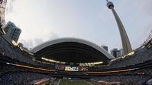 In this Aug. 19, 2010 file photo taken with a fish-eye lens, the Indianapolis Colts play the Buffalo Bills in the first quarter of an NFL preseason football game at the Rogers Centre in Toronto. (Dean Duprey/Associated Press)