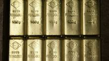 Gold bars are displayed in the Austrian Gold and Silver Separating Plant Oegussa in Vienna.