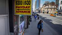 There are hundreds of payday loan stores around Toronto. They're are five different payday loan locations including this Simplycash store located within two blocks of each other starting at the 600 block of Yonge St. photo.. ROB (Glenn Lowson for The Globe and Mail)
