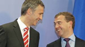 Norwegian Prime Minister Jens Stoltenberg speaks with Russian President Dmitry Medvedev during a ceremony in Murmansk on Sept. 15, 2010, marking the end of a 40-year border dispute between the two countries.