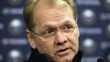 Buffalo Sabres general manager Darcy Regier is shown during an NHL hockey news conference in Buffalo, N.Y., Tuesday, Feb. 7, 2012. (David Duprey/AP)