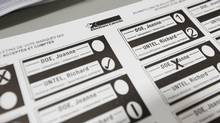 A sample ballot is pictured during a media tour at the Elections Canada warehouse in Ottawa (Chris Wattie/Reuters)