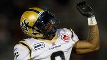 Winnipeg Blue Bombers' Jovon Johnson dances to the music during a break in play against the B.C. Lions during the second half of a CFL football game in Vancouver, B.C., on Saturday August 13, 2011. THE CANADIAN PRESS/Darryl Dyck (DARRYL DYCK)