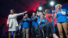 British Columbia Premier Christy Clark, left, is flanked by party candidates before delivering a keynote address at the B.C. Liberal Party convention, in Vancouver on Sunday, November 6, 2016. British Columbians head to the polls for a provincial election May 9, 2017. (Darryl Dyck/THE CANADIAN PRESS)