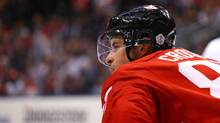 Sidney Crosby #87 of Team Canada looks on against Team Europe during the third period during Game One of the World Cup of Hockey final series at Air Canada Centre on September 27, 2016 in Toronto, Canada. (Bruce Bennett/Getty Images)