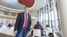 Jack Saddleback, president of the students union, stands inside the new Gordon Oakes Red Bear Student Centre, Jan. 29, 2016. (David Stobbe for The Globe and Mail)