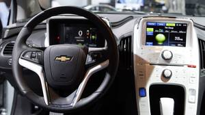 The interior of the Chevy Volt, 2011 Green Car of the Year, at the LA Auto Show
