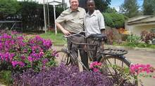 Michael Frederiksen of Creating Community Education Services Canada (left) with Busuku Musili. Through a CES scholarship, Mr. Musili studies medical research at Port Reitz Medical Training College in Mombasa, Kenya.