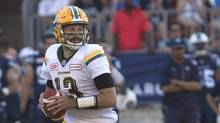 Edmonton Eskimos quarterback Mike Reilly looks to make a play during first half CFL football action against the Toronto Argonauts in Toronto on Saturday, August 20, 2016. Statistically speaking, the Eskimos game against the Saskatchewan Roughriders will be a spectacular double-E aerial blitz leaving the gridiron strewn with the rubble of watermelon helmet-hats.But Edmonton quarterback Reilly says the 1-7 Green Riders under head coach/GM Chris Jones can't be taken lightly in Friday's game at the Brick Field at Commonwealth Stadium. (Chris Young/THE CANADIAN PRESS)