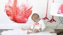 Traditional nursery themes, such as zoo animals, are being executed with a mature twist, such as this flamingos wall decal, $205, from uwdecals.com. , including zoo animals, are being executed with a nod to modern sensibilities.