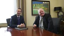 Premier Dalton McGuinty, left, and mayor Rob Ford meet at Queen's Park in Toronto. (Kevin Van Paassen/The Globe and Mail)