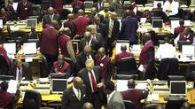 A view of the trading floor at the Nigerian Stock Exchange in Lagos, April 24, 2012. (Akintunde Akinleye/REUTERS)