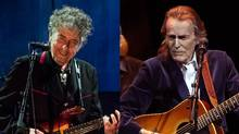 Bob Dylan, left, performs at the Capitol Theater in Port Chester, N.Y., Sept. 4, 2012; Gordon Lightfoot performs at Massey Hall in Toronto, May 25, 2011. (NYT (Dylan); Tim Fraser for The Globe and Mail (Lightfoot))