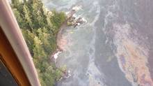 A photo provided by Kelly Russ of an oil slick spreading along the coast near Bella Bella from the wreck of the tug Nathan E. Stewart.