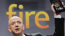 Jeff Bezos, Chairman and CEO of Amazon.com, introduces the Kindle Fire at a news conference, Wednesday, Sept. 28, 2011 in New York. (Mark Lennihan/AP)