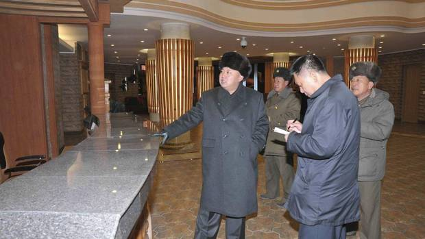 North Korean leader Kim Jong Un, left, visits the nearly finished Masik-Ryong Ski Resort, according to North Korea's Korean Central News Agency. The agency released the undated pictures on Dec.15, 2013. Reuters, which distributed the images, cannot verify authenticity. (KCNA/REUTERS)