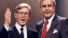 Ontario NDP and Liberal leaders Bob Rae and David Peterson prepare for an election debate in August, 1990, in Toronto. (HANS DERYK/The Canadian Press)