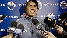 Edmonton forward Nail Yakupov speaks to media during the Oilers first day of training camp in Edmonton on Sunday, January 13, 2013. (JASON FRANSON/THE CANADIAN PRESS)