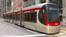 A Bombardier LRV, designed for Toronto's transit commission, is shown in an artist's rendering. (The Canadian Press)