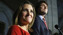 Liberal leader Justin Trudeau with Chrystia Freeland, the newly Liberal MP for the riding of Toronto Centre. (CHRIS WATTIE/REUTERS)