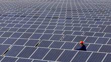 An employee rides a quad bike during an inspection of a solar power station on the outskirts of Simferopol, March 25, 2014. (VASILY FEDOSENKO/REUTERS)
