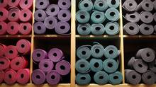 Lululemon yoga mats are seen at the retailer's Yorkville store in Toronto. (Moe Doiron/Moe Doiron/The Globe and Mail)