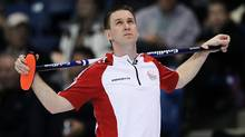 Newfoundland and Labrador skip Brad Gushue pauses for a moment during an afternoon draw against British Columbia at the Tim Hortons Brier in Saskatoon, March, 6, 2012. (Jonathan Hayward/The Canadian Press/Jonathan Hayward/The Canadian Press)