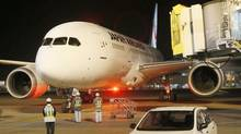 Japan Airlines' (JAL) Boeing Co's 787 plane which encountered the mishap of a fuel leak arrives at New Tokyo international airport in Narita, east of Tokyo, in this photo taken by Kyodo, January 9, 2013. (KYODO/REUTERS)
