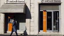 A Unicredit bank in Rome, Nov. 14, 2011. (STEFANO RELLANDINI/REUTERS)