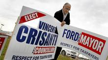 Vince Crisanti is one of Toronto's new city councillors. He pulled off an upset in Ward 1, North Etobicoke, where he was photographed, in a Tim Horton's and removing an election sign nearby. He aligned himself closely with Mayor-elect Rob Ford during the campaign. (Peter Power/The Globe and Mail/Peter Power/The Globe and Mail)