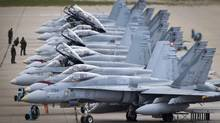 CF-18s line up on the tarmac in the Cold Lake, Alta., air-force base on Sept. 28, 2010. (JOHN LEHMANN/The Globe and Mail)