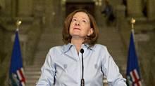 Alberta Premier Alison Redford announces her resignation in Edmonton, Alberta on Wednesday March 19, 2014.