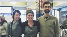 Cricket grower Andrew Afelskie, right, and his team – Vivien Leung, left, and Laura Shine.