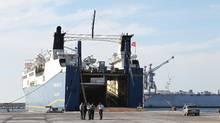 A ship is docked at Syria's Mediterranean port city of Latakia. (KHALED AL-HARIRI/REUTERS)