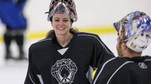 Shannon Szabados, the two-time Canadian Olympic gold-medalist, is the first woman to play in the Southern Professional Hockey League. (Kevin Liles/The New York Times)