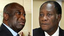 A combination of two pictures taken in 2010 in Abidjan shows (at L) incumbent Ivorian president Laurent Gbagbo and (at R) beleaguered would-be Ivory Coast president Alassane Ouattara, who on December 21, 2010 urged the Ivorian people to rise up in a campaign of civil disobedience against defiant strongman Laurent Gbagbo. In a statement issued from the hotel where it survives behind a wall of UN peacekeepers, Ouattara's camp accused Gbagbo's loyalist security forces of murdering scores of civilians in overnight death squad raids. (ISSOUF SANOGO/Issouf Sanogo/AFP/Getty Images)