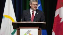 Prime Minister Stephen Harper speaks at the opening of the World French Language Forum Monday, July 2, 2012 in Quebec City. (Jacques Boissinot/THE CANADIAN PRESS)