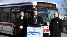 TTC chair Josh Colle, Toronto Mayor John Tory and TTC chief executive Andy Byford attend a press conference at Joyce Public School on Jan. 19, 2015. (FRED LUM/THE GLOBE AND MAIL)