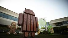 Google Inc. has unveiled a Kit Kat-Android statue outside its headquarters in Mountain View, Calif. The Android 4.4 KitKat system is expected to launch in October 2013. (Google Inc./AP)