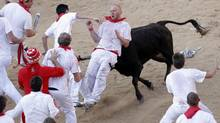 A reveller is tossed by a fighting cow during festivities in Pamplona. Spain (JOSEBA ETXABURU/REUTERS)