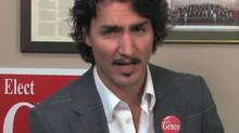 Montreal Liberal MP Justin Trudeau is shown denouncing Tory contender Julian Fantino in a promotional video for by-election candidate Tony Genco.
