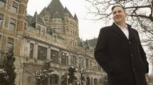 Jesta Group's Anthony O'Brien stands in front of the imposing former Viger train station in Montreal. (Robert J. Galbraith For the Globe and Mail)