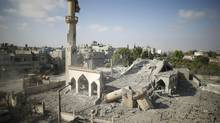 A general view of the remains of a mosque, which witnesses said was hit by an Israeli air strike, is seen in Beit Hanoun in the northern Gaza Strip August 25, 2014. (MOHAMMED SALEM/REUTERS)