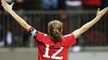 Christine Sinclair of Canada celebrates her goal against Mexico during the second half of their semi-final CONCACAF Women's Olympic qualifying soccer match in Vancouver, British Columbia January 27, 2012. REUTERS/Ben Nelms (Ben Nelms/Reuters)