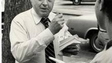 James Coutts hands out leaflets while campaigning in Toronto in 1981. (Edward Regan/The Globe and Mail)