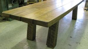 This table is made of elm and maple that came from two demolished barns.